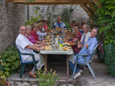 Saturday night dinner in the garden of our house in rue St Martin